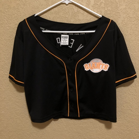 purchase cheap d95ce 9b51c PINK SF Giants Cropped Baseball Jersey